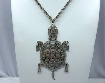 1970s Necklace, Turtle Necklace, Statement Jewelry, Hippie Necklace, Christmas