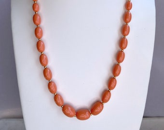 Salmon Beaded Necklace, Vintage Jewelry, Mothers Day Gift From Daughter
