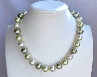 Light Green Ombré, Pearl Beaded Necklace, Vintage Necklace, Statement Jewelry, Mothers Day Gift, From Daughter