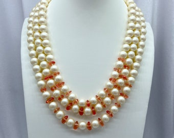 Vintage Pearl Necklace, Statement Jewelry, Sustainable Fashion, Christmas, Gift for Mom