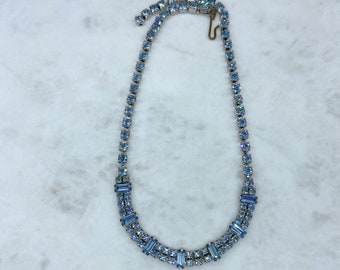 Light Blue, Rhinestone Necklace, Christmas, Gift for Her
