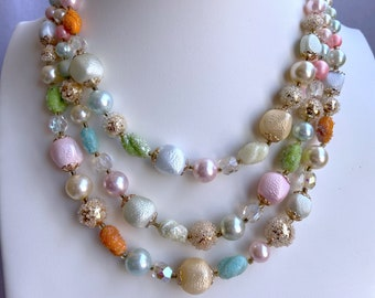 Pastel Necklace, 1950s Necklace, Vintage Jewelry, Mothers Day Gift From Daughter