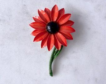 Orange Flower Brooch, Halloween Brooch, Vintage Jewelry, Best Friend Gift