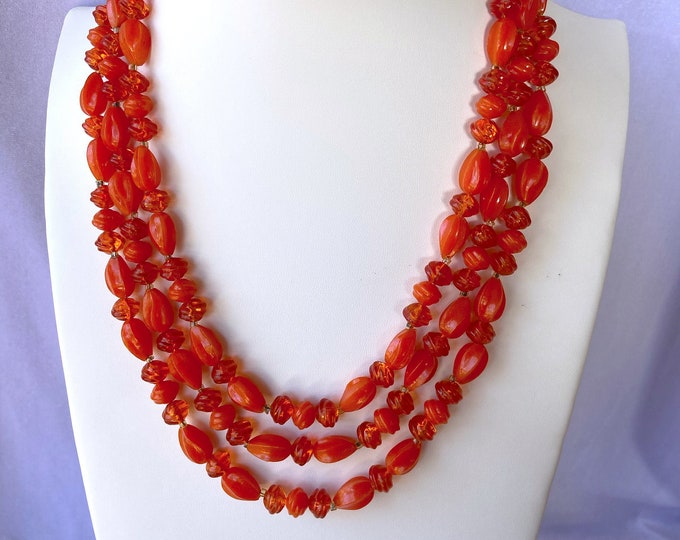 Featured listing image: Orange Necklace, Statement Necklace, Vintage Jewelry, Zero Waste Gift