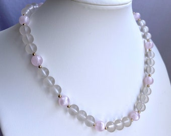 Clear and Pink Beaded Necklace, Vintage Jewelry, Sustainable Fashion, Mothers Day Gift For Daughter