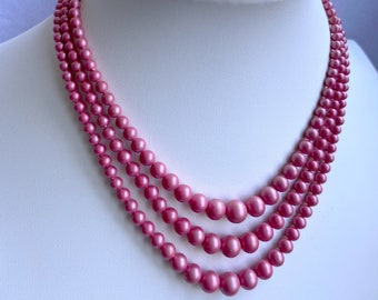 Rose Color Necklace, Graduated Pearl Necklace, Vintage Jewelry, Mothers Day Gift From Daughter