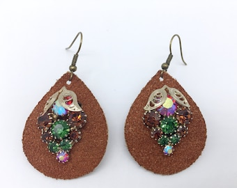 Vintage earrings clip on leather teardrop dangle up-cycled rhinestone jewelry wine lover gift, grapes