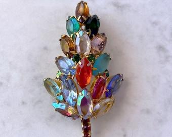 Rhinestone, Leaf Brooch, Autumn Jewelry, 1940s Brooch, Best Friend Gift