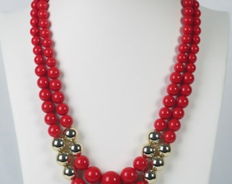 Red and Gold Necklace, Sustainable Fashion, Costume Jewelry, Best Friend Gift