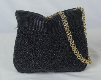 Black Beaded Purse, Beaded Clutch, Vintage Purse, Zero Waste Gift