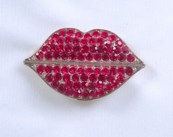 Red Lips, Rhinestone Brooch, Vintage Jewelry, Love, Christmas, Gift for Her
