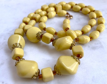 Light Yellow Necklace, Vintage Jewelry, Mothers Day Gift From Daughter