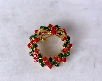 Christmas Wreath Brooch, Vintage Jewelry, Rhinestone Brooch, Stocking Stuffer