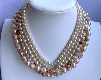 Ivory and Peach Pearl Necklace, 1940s Necklace, Statement Jewelry, Mothers Day Gift For Daughter