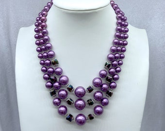 Purple Pearl Bead Necklace, 1950s Necklace, Zero Waste Gift