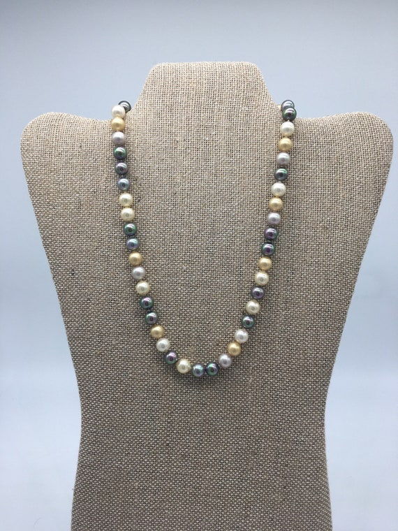 Gold, white, gray vintage pearl necklace, rhinestone clasp