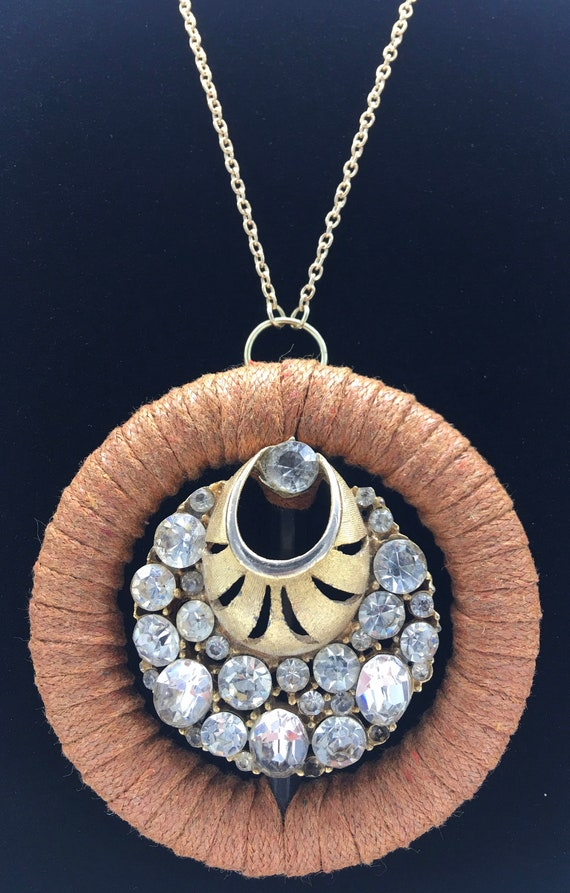 Vintage Rhinestone Art Deco Necklace - Made from Vintage Brooch and Repurposed Belt
