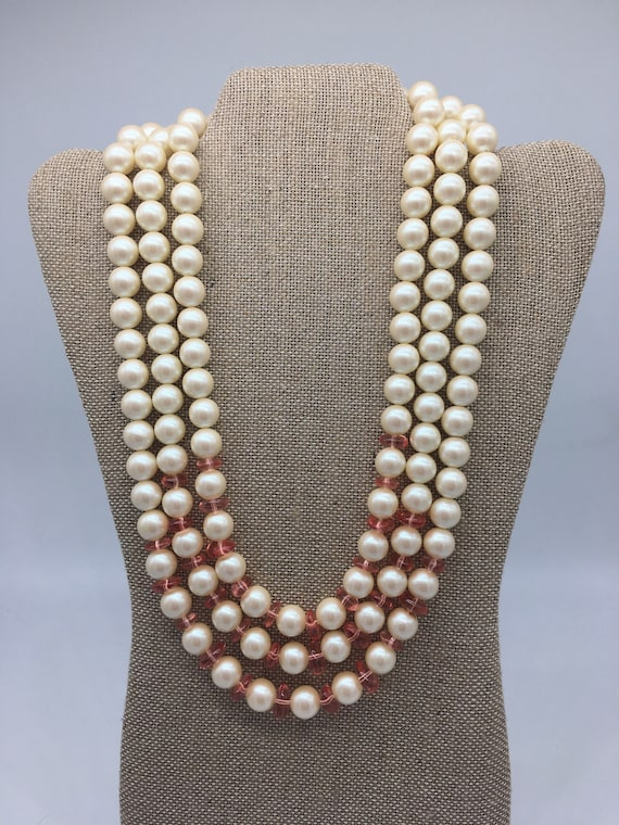 Vintage pearl and pink multi-strand necklace