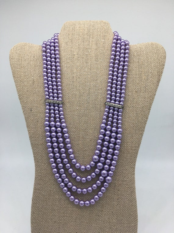 Vintage purple multi-strand pearl and rhinestone necklace