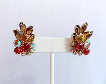 Autumn Rhinestone Earrings, Weiss Earrings, 1960s Earrings, Unique Gifts