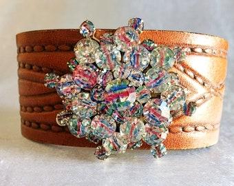 Leather Cuff, Rhinestone Cuff, Vintage Brooch, Iris Rainbow, Recycled Leather