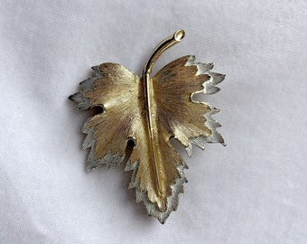 Gold and Silver Leaf Brooch, Fall Brooch, Vintage Jewelry, Best Friend Gift