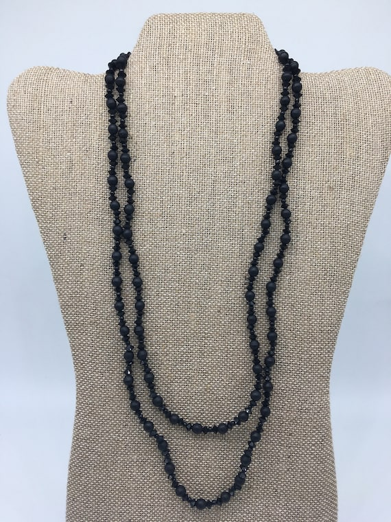 Vintage black pearl and crystal necklace
