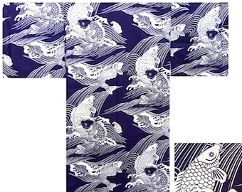 "Japanese Men/'s 58/"" Cotton Kimono Yukata Robe Ancient Coin Pattern Made in Japan"