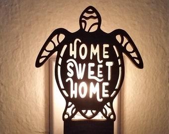 Turtle's Sweet Home - Laser cut Wood Night Light, glow, candle light, gift, Hawaiian, Polynesian, Ocean, Sea, Animal, Turtle, Beach, Sand