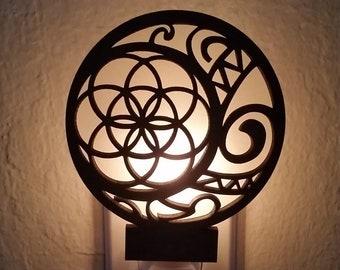 Tribal Moon - Laser cut Wood Night Light, seed of life, glow, candle light, gift, polynesian, hawaiian