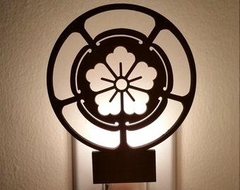 Japanese Family Crest Night Light - Goka - Laser cut, wood, glow, candle light, gift