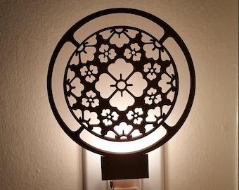 Japanese Family Crest Night Light - Hanakaku - Laser cut, wood, glow, candle light, gift