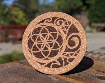 Cork Pot Holder - Tribal Moon Bold