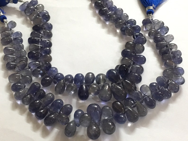 Smooth Drops Briolettes AAA Quality Iolite Full 9 inch strand 100 /% Natural 5x9-8x13 mm approx