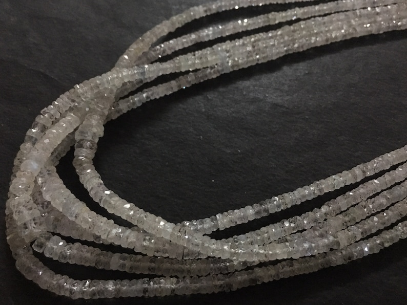 16 inch strand Micro Faceted Rondelle Beads White Sapphire WHOLESALE 3-5 mm approx AAA Quality SALE 70 /%