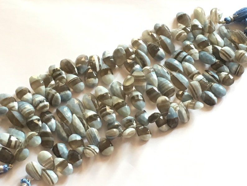 Faceted Pear Briolettes 8 inch strand Wholesale 1 strand 10x15-10x17 mm VERY NICE QUALITY Denim Blue Opal