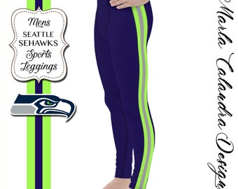 One of a Kind Midnight Blue and Lime Green Seahawk Leggings Dharma Trading Co. Deluxe Cotton Leggings with Spandex Size S