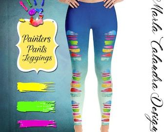 10aab37e07 PAINTER'S PANTS Hand Print Leggings, Fun Workout Yoga Leggings