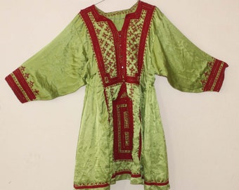 e246a2a6423 Green Mirror Work Baluchi Dress Handmade Afghan Top Tribal Gypsy Vintage  Tunic Cotton Boho Top
