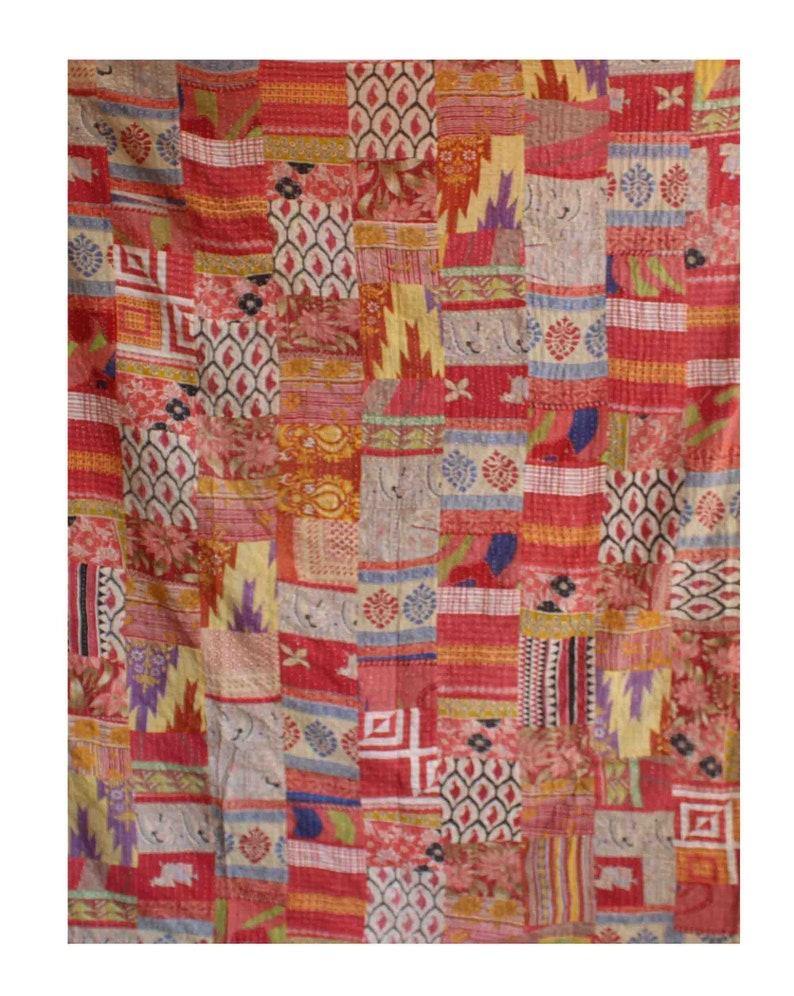 Twin Size Reversible Kantha Quilt Handmade Cotton Sari Patchwork Kantha Blanket Colorful Vintage Kantha Bedspread Kantha Throw