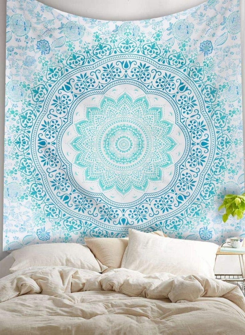 White Peacock Mandala Bedspread Wall Hanging Tapestry Blanket Cotton Queen Long Performance Life Bedding