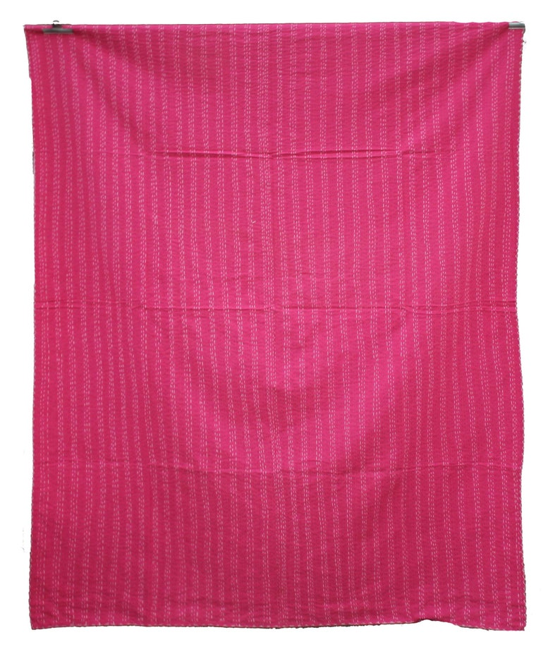 Pink Ikat Design Handmade Kantha Quilt Colorful Kantha Throw Hand Stitched Bohemian Kantha Blanket Indian Cotton Kantha Bedspread