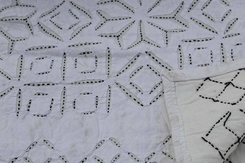 Handmade Cut Work Kantha Quilt Indian Cotton Kantha Blanket Appliqu\u00e9 Patchwork Kantha Throw Hand Stitched Cut Work Bedspread