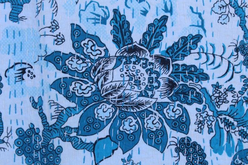 Bird Print Kantha Quilt Twin Size Cotton Kantha Blanket Indian Handmade Kantha Bedspread Hand Stitched Kantha Throw