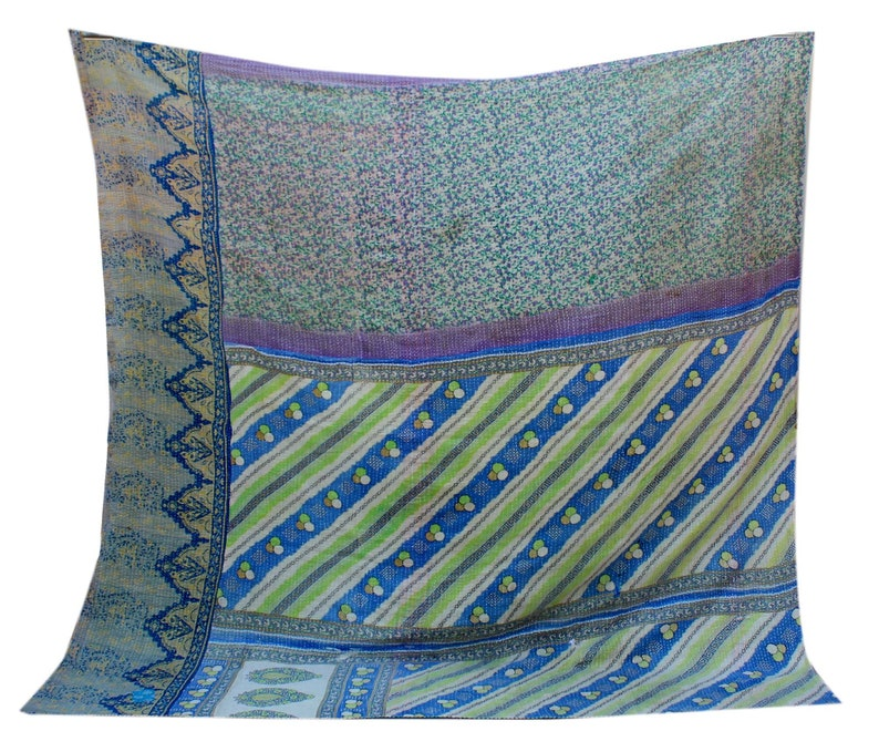 Red Stripe Patchwork Kantha Quilt Designer Kantha Blanket Hand Stitched Kantha Throw Reversible Indian Cotton Kantha Bedspread