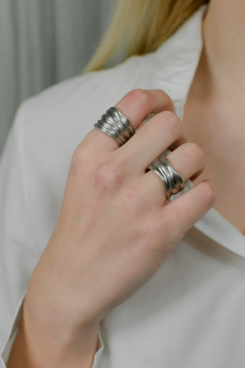 Handmade thick wave ring