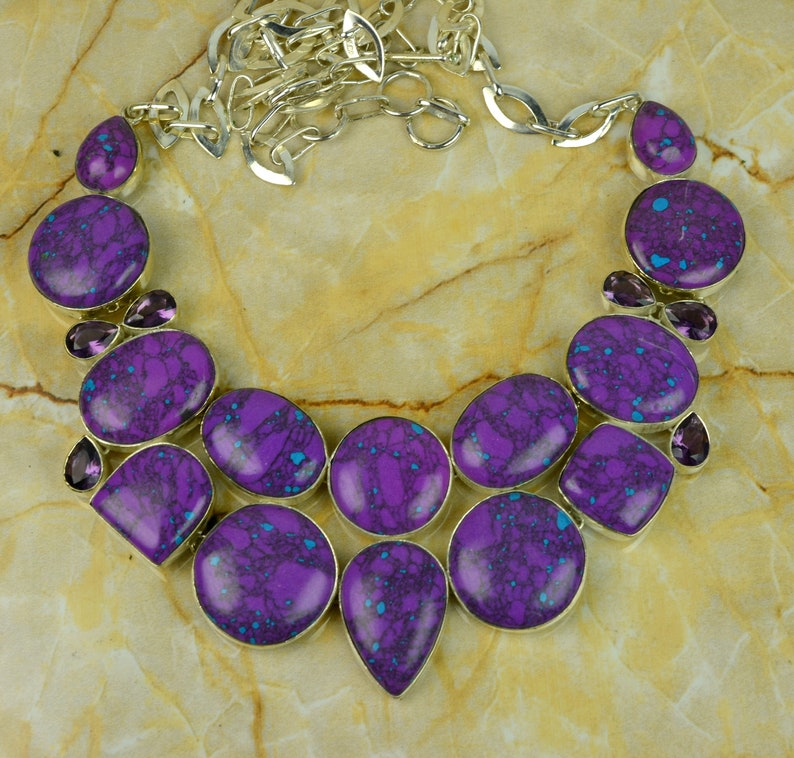 Turquoise Necklace Purple Turquoise /& Amethyst Gemstone Designer 925 Silver Necklace Turquoise Statement Necklace