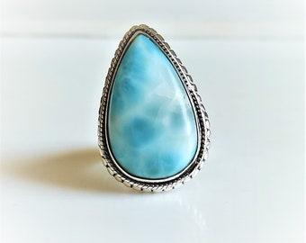 Natural Gemstone Ring Blue Pectolite Larimar Gemstone Ring Larimar Ring Lovely Gift Ring 925 Sterling Silver Ring Triangle Larimar Ring