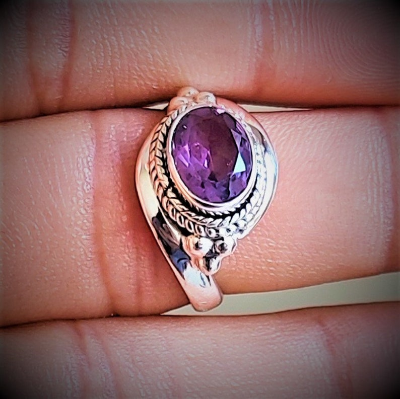 Faceted Amethyst Ring-Handmade Jewelry-925 Sterling Silver Ring-Designer Ring-February Birthstone-Promise Ring,Christmas Gift-Dainty-Trendy