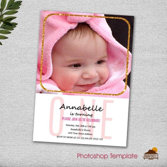 Modern One Girl Birthday Card Template Photoshop PSD